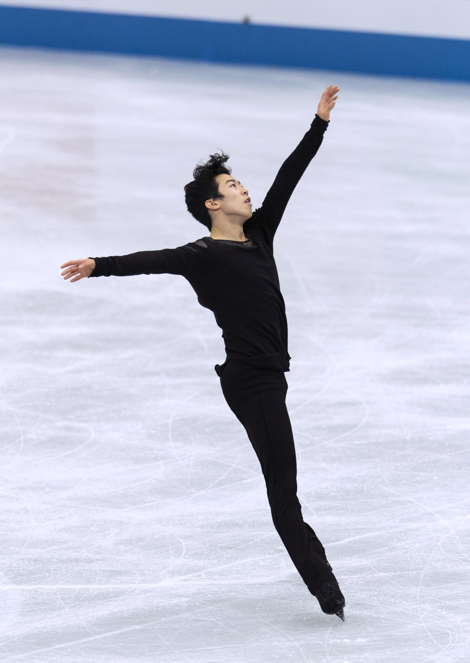 USA's Nathan Chen performs during the men's free skating program of the ISU World Team Trophy figure skating competition in Osaka, western Japan, Friday, April 16, 2021. (AP Photo/Hiro Komae)
