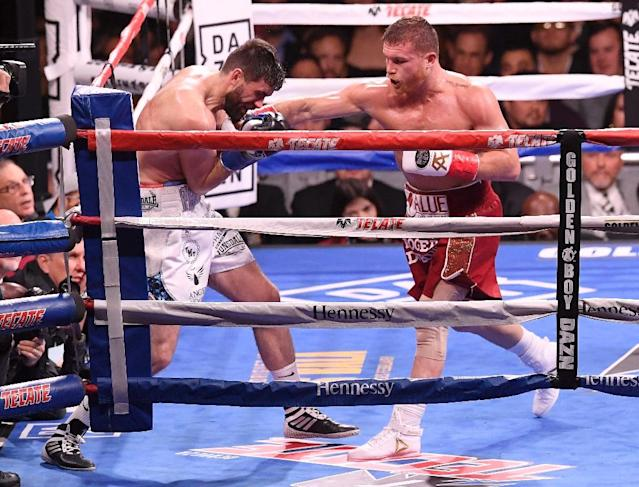 """Saul """"Canelo"""" Alvarez during his victory over Briton Rocky Fielding in New York last month (AFP Photo/Sarah Stier)"""