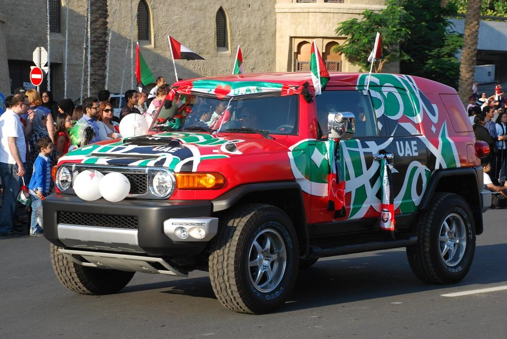 A car decked up in the UAE's colours at the National Day parade held at Downtown Dubai. (Photo: Donna.M.Bee.Photography)