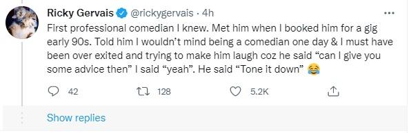 Ricky Gervais recalled memories of Lock on Twitter. (Twitter)