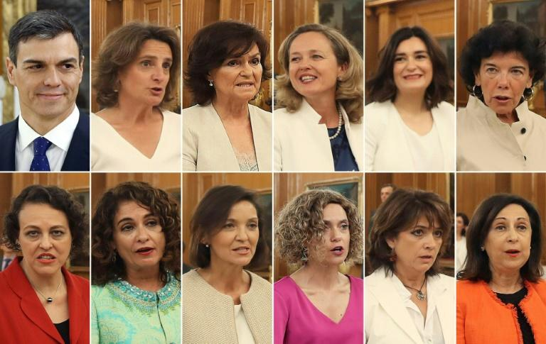 Spanish Prime Minister Pedro Sanchez and his 11 new female ministers