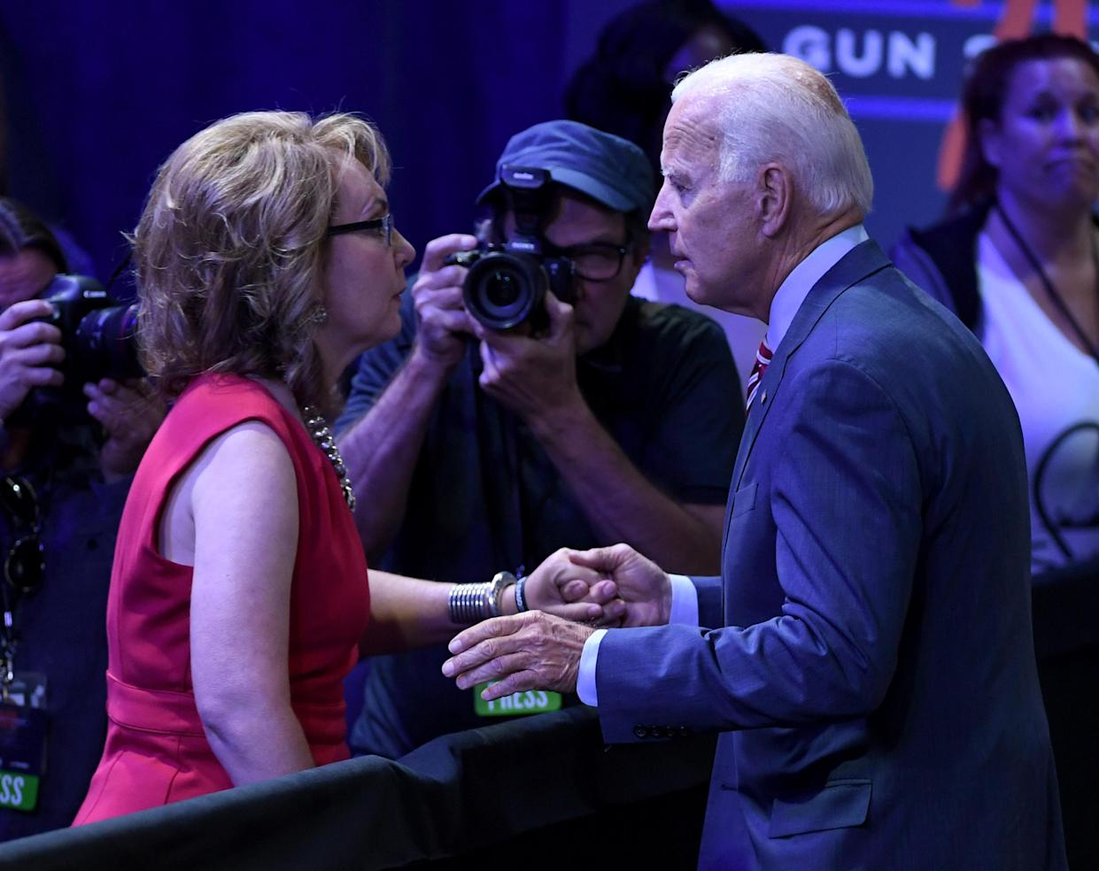 Former U.S. Rep. Gabrielle Giffords (L) greets Democratic presidential candidate, former U.S. Vice President Joe Biden after he spoke at the 2020 Gun Safety Forum hosted by gun control activist groups Giffords and March for Our Lives at Enclave on October 2, 2019 in Las Vegas, Nevada. (Ethan Miller/Getty Images)