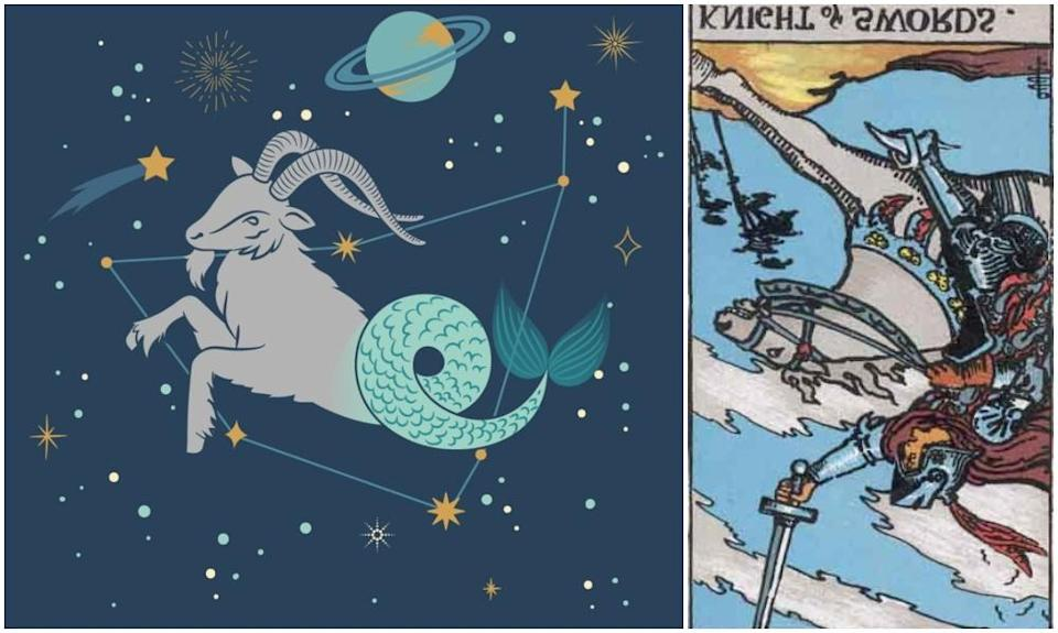 Capricorn star sign, at left and Knight of Swords card in reverse, at right. Photos: Mixkit, Wikimedia Commons