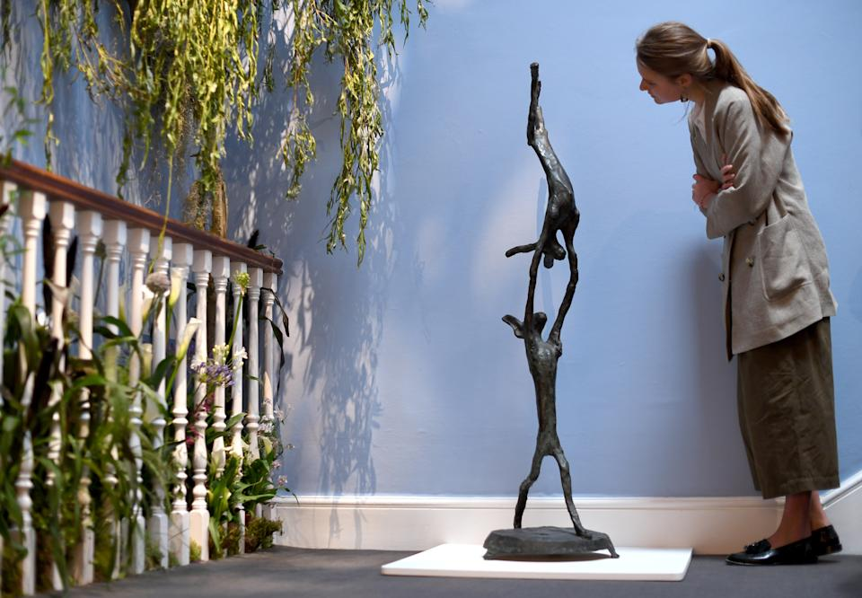 Barry Flanagan's 'Acrobats' (Est: £150,000 - 250,000) which is to be sold as part of the Modern & Post-War British Art sales next week at Sotheby's on June 14, 2019 in London, England. Photo: Chris J Ratcliffe/Getty Images for Sotheby's