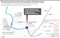 Map locating the last pocket of territory held by the Islamic State group in Syria (AFP Photo/Laurence SAUBADU)