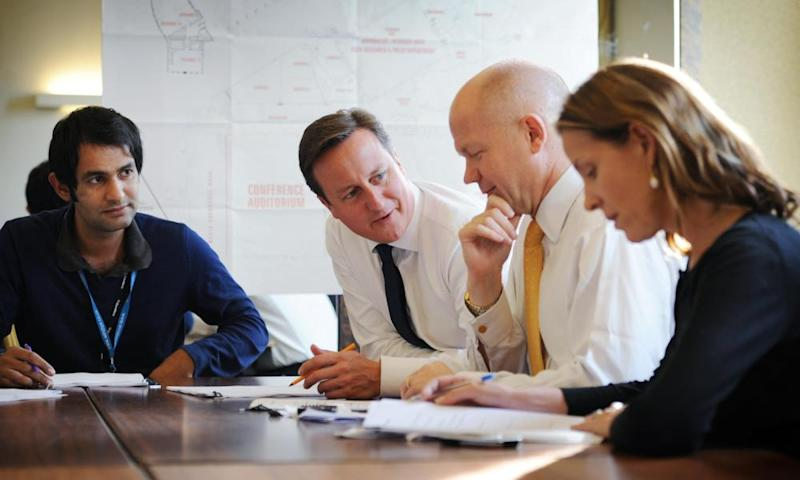 Ameet Gill, left, with David Cameron, William Hague and Kate Fall.