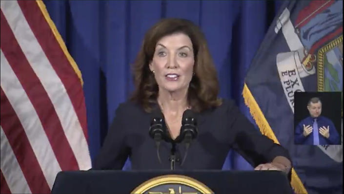 In this image taken from from video, New York Lt. Gov. Kathy Hochul gives a news conference at the State Capitol, Wednesday, Aug. 11, 2021 in Albany, N.Y. Hochul is preparing to take the reins of power after Gov. Andrew Cuomo announced he would resign from office. (Office of the Lt. Governor of New York via AP)