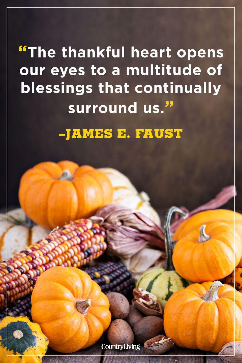 """<p>""""The thankful heart opens our eyes to a multitude of blessings that continually surround us.""""</p>"""