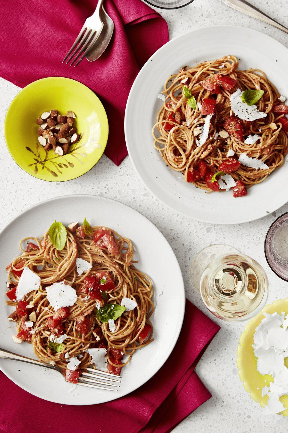 """<p>Beat the heat with a no-cook pasta sauce. Yep, you heard that right. </p><p><em><a href=""""https://www.goodhousekeeping.com/food-recipes/a45705/spaghetti-no-cook-heirloom-tomato-sauce-recipe/"""" rel=""""nofollow noopener"""" target=""""_blank"""" data-ylk=""""slk:Get the recipe for Spaghetti with No-Cook Heirloom Tomato Sauce »"""" class=""""link rapid-noclick-resp"""">Get the recipe for Spaghetti with No-Cook Heirloom Tomato Sauce »</a></em></p>"""