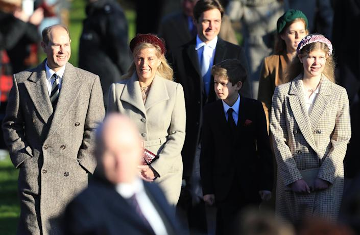 Prince Edward, Earl of Wessex, Sophie, Countess of Wessex, Lady Louise Windsor and James, Viscount Severn attend the Christmas Day Church service at Church of St Mary Magdalene on the Sandringham estate on December 25, 2019 in King's Lynn, United Kingdom. | Stephen Pond—Getty Images