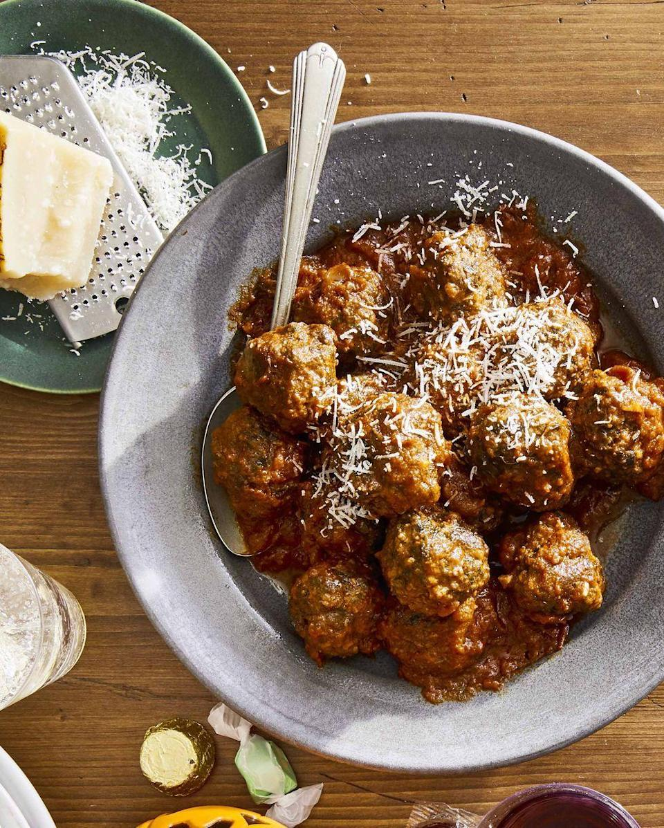 """<p>Fall is for comfort food, and there's little more comforting than these easy, delicious meatballs.</p><p><strong><a href=""""https://www.countryliving.com/food-drinks/a33943349/slow-cooker-spinach-and-parmesan-meatballs/"""" rel=""""nofollow noopener"""" target=""""_blank"""" data-ylk=""""slk:Get the recipe"""" class=""""link rapid-noclick-resp"""">Get the recipe</a>.</strong> </p>"""