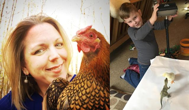 <p>Photographer Alexandra Daley-Clark with her chicken, Godie; and at right, Alex's son and photo assistant, Cal. (Photos courtesy: Alexandra C. Daley-Clark/sillychickens.com) </p>