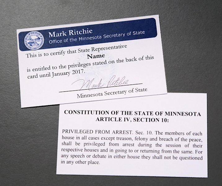 "In this photo provided April 10, 2014 by the Minnesota Secretary of State's office is a so-called ""get out of jail free"" card that is issued to legislators that explain their constitutional privilege against arrest. The Minnesota House Thursday, April 10, 2014 has passed a bill that erases any immunity for state lawmakers facing felony or misdemeanor charges, including drunken driving. The immunity provision dates back to 1858 when the state's founding fathers wanted to protect legislators from being arrested and kept from voting on important measures. (AP Photos/Minnesota Secretary of State's Office)"