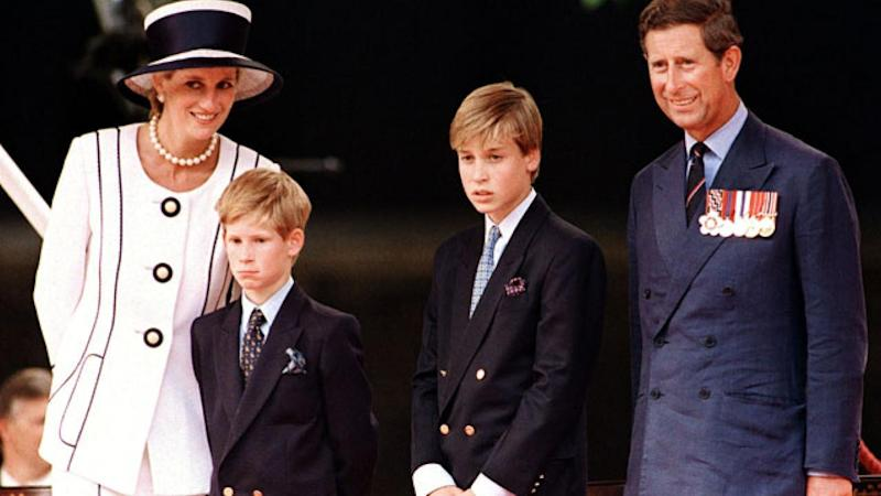 Prince Harry with mother Princess Diana and family