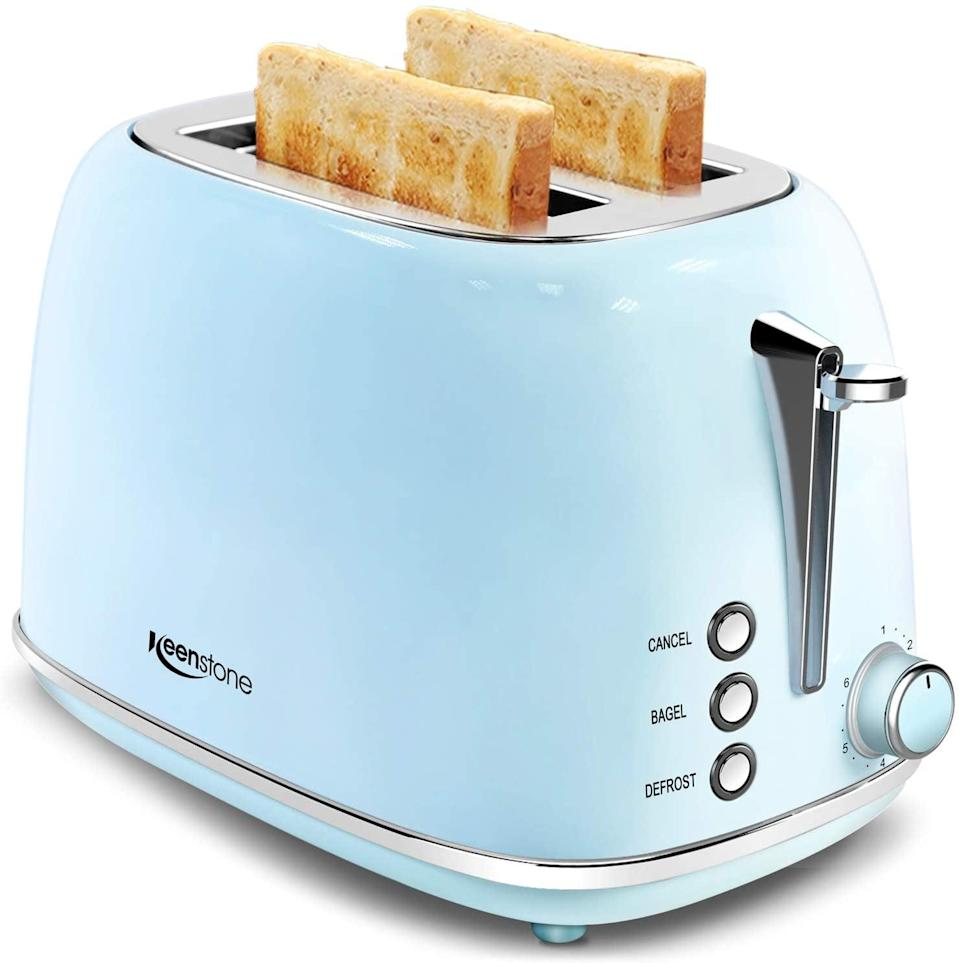 <p>Go vintage with this <span>Retro Stainless Steel 2 Slice Toaster</span> ($40). It has extra-wide slots to fit bagels and more and a removable crumb tray.</p>