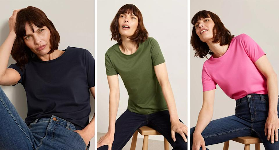 The tee comes in six different hues including navy, olive and pink. (John Lewis & Partners)