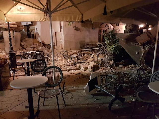 <p>Damaged buildings are seen after an earthquake on the Greek island of Kos early Friday, July 21, 2017. (Photo: Kalymnos-news.gr via AP) </p>