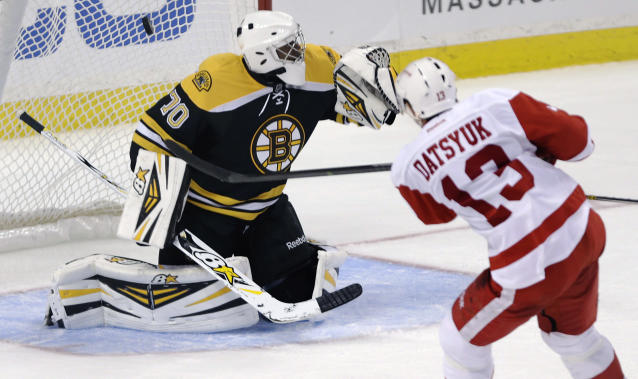 Detroit Red Wings center Pavel Datsyuk (13) beats Boston Bruins goalie Malcolm Subban (70) for a goal during the third period of a preseason NHL hockey game, Thursday, Sept. 19, 2013, in Boston. (AP Photo/Charles Krupa)