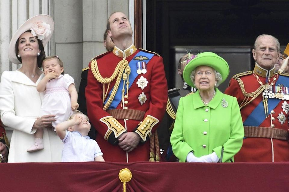 Balcony: Princess Charlotte joined Prince George, the Queen and Duke and Duchess of Cambridge (REUTERS/Toby Melville)