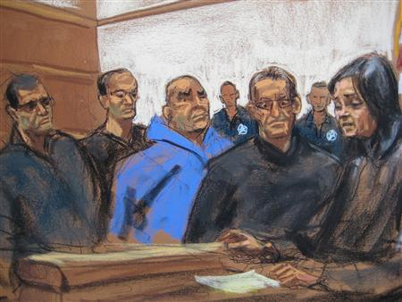 Suspects said to be part of a New York crime family are seen in a courtroom sketch as they appear in Federal court in New York, January 23, 2014. REUTERS/Jane Rosenberg