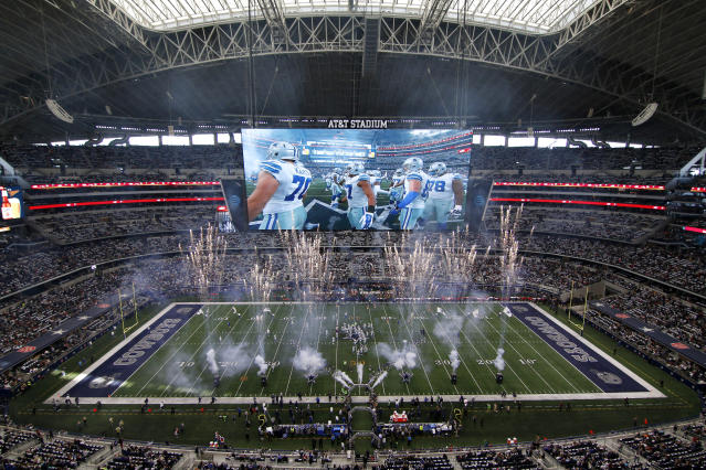 FILE - In this Jan. 3, 2016, file photo, pyrotechnics are discharged as the Dallas Cowboys jog onto the field at AT&T stadium for an NFL football game against the Washington Redskins, in Arlington, Texas. The NFL power brokers don't have to worry about competing with baseball _ or any other sport _ these days. (AP Photo/Roger Steinman, File)