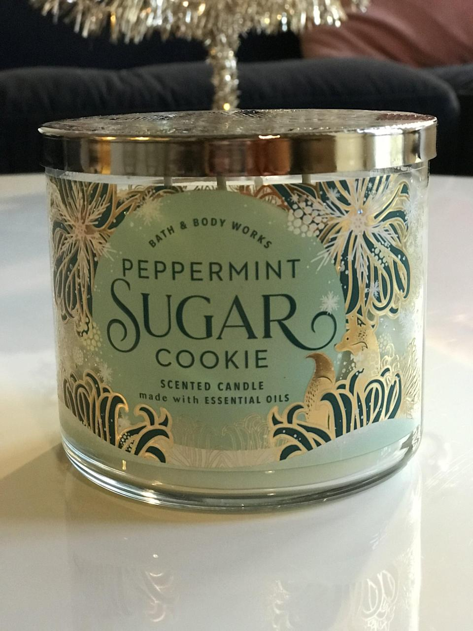 <p>Peppermint Sugar Cookie 3-Wick Candle ($15, originally $25, not available online)</p> <p><strong>What It Smells Like:</strong> Exactly as the title says, minty-fresh cookies.</p>