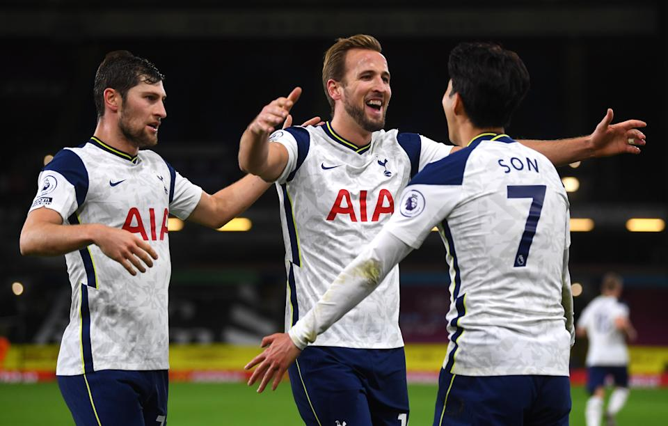 Harry Kane (centre) assisted Son Heung-min's goalTottenham Hotspur FC via Getty Images