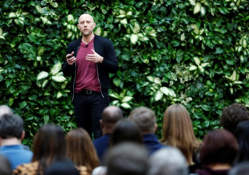 Microsoft Chief Environmental Officer Joppa speaks as the company announces plans to be carbon negative by 2030 and to negate all the direct carbon emissions ever made by the company by 2050 at their campus in Redmond
