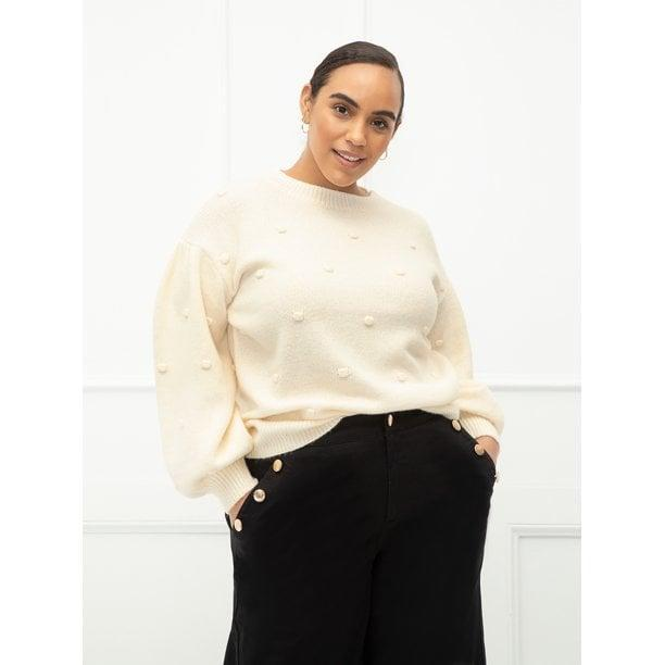 <p>This textured <span>ELOQUII Elements Women's Plus Size Balloon Sleeve Bobble Sweater</span> is obsession-worthy.</p>
