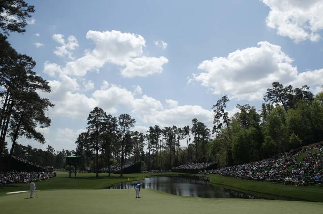 Francesco Molinari of Italy putts on the 17th green during the second day of practice for the 2018 Masters golf tournament at Augusta National Golf Club in Augusta, Georgia, U.S. April 3, 2018. REUTERS/Mike Segar