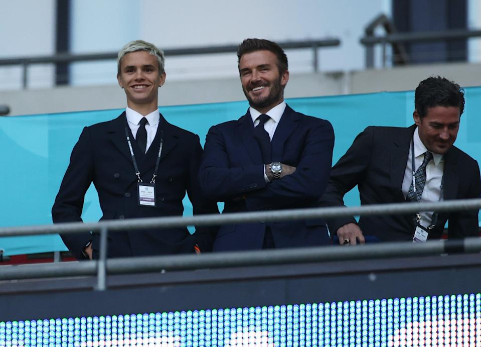 David Beckham and son Romeo cheered  on the victorious England team at Wembley on Tuesday night (The FA via Getty Images)