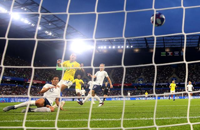 Valerie Gauvin of France scores her team's first goal during the 2019 FIFA Women's World Cup France Round Of 16 match between France and Brazil at Stade Oceane on June 23, 2019 in Le Havre, France. (Photo by Alex Grimm/Getty Images)