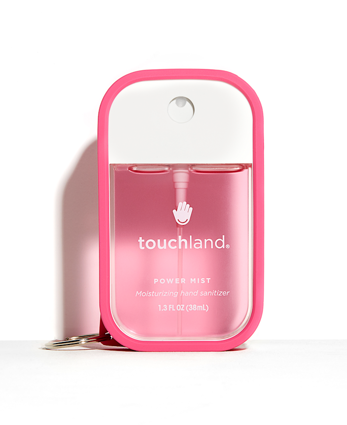 """<h2>Touchland Power Mist</h2> <br>A powerful formula packed with aloe vera and essential oils is housed in this chic spray cube that can be attached to your keys or backpack. Killing germs has never looked this good. <br><br><strong>Touchland</strong> Pink Shield 🍭, $, available at <a href=""""https://touchland.com/products/pink-power-mist-shield?variant=19987155746886&currency=USD&gclid=EAIaIQobChMI--eL-ZmO6AIVCINaBR2wJgxeEAQYBCABEgK8SPD_BwE"""" rel=""""nofollow noopener"""" target=""""_blank"""" data-ylk=""""slk:touchland"""" class=""""link rapid-noclick-resp"""">touchland</a><br>"""
