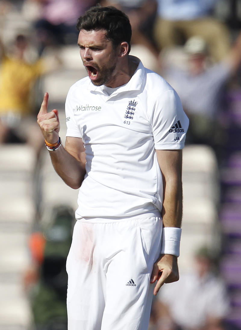England's James Anderson celebrates taking the wicket of India's Ravindra Jadeja (not pictured) in the third Test at The Ageas Bowl in Southampton, on July 29, 2014