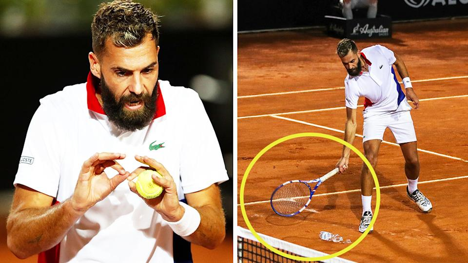 Frenchman Benoit Paire (pictured) arguing with the chair umpire (pictured left) and smashing a water bottle off court at the Italian Open.