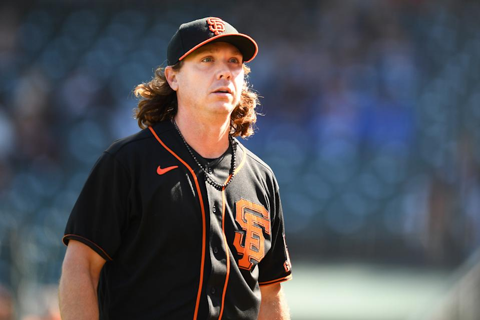 SAN FRANCISCO, CA - MAY 22: San Francisco Giants pitcher Scott Kazmir (19) looks on during a MLB game between the Los Angeles Dodgers and the San Francisco Giants on May 22, 2021 at Oracle Park in San Francisco, CA. (Photo by Brian Rothmuller/Icon Sportswire via Getty Images)