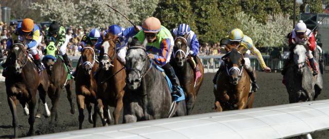 Frac Daddy, center, ridden by jockey Alan Garcia, races to victory ahead of the field in the Ben Ali Stakes horse race at Keeneland in Lexington, Ky., Saturday, April 19, 2014. (AP Photo/Garry Jones)