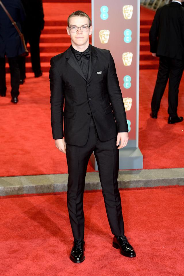 <p>The actor looked sharp in an all-black suit. <em>[Photo: Getty]</em> </p>