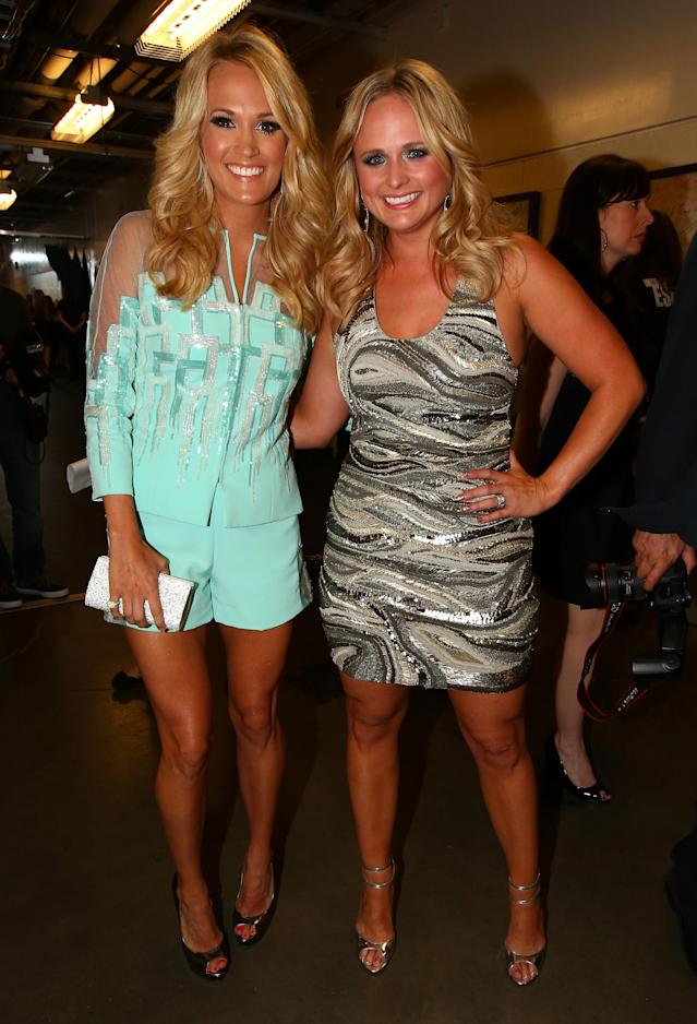 NASHVILLE, TN - JUNE 05: Carrie Underwood (L) and Miranda Lambert attend the 2013 CMT Music awards at the Bridgestone Arena on June 5, 2013 in Nashville, Tennessee. (Photo by Christopher Polk/Getty Images)