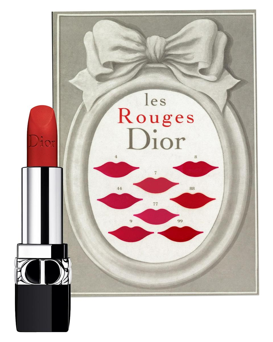 """$38, Dior. <a href=""""https://www.dior.com/en_us/products/beauty-Y0172009-rouge-dior-refillable-lipstick-with-4-couture-finishes-satin-matte-metallic-new-velvet"""" rel=""""nofollow noopener"""" target=""""_blank"""" data-ylk=""""slk:Get it now!"""" class=""""link rapid-noclick-resp"""">Get it now!</a>"""