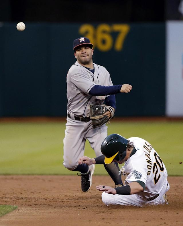Houston Astros second baseman Jose Altuve, right, turns a double play over Oakland Athletics' Josh Donaldson on a ground ball from Derek Norris during the fourth inning of a baseball game on Tuesday, July 22, 2014, in Oakland, Calif. (AP Photo)