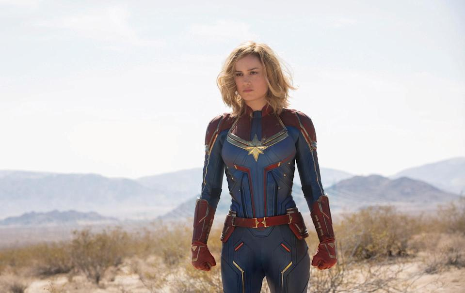 """<p>We won't complain about how it took Marvel Studios more than 20 movies to make a woman the title character (except a little). Instead, we'll focus on how Brie Larsen stars as a former Air Force pilot who has to return to Earth in the '90s to tangle with some space aliens.</p><p><a class=""""link rapid-noclick-resp"""" href=""""https://www.amazon.com/Marvel-Studios-Captain-Brie-Larson/dp/B07P76GTJR?tag=syn-yahoo-20&ascsubtag=%5Bartid%7C10055.g.29023076%5Bsrc%7Cyahoo-us"""" rel=""""nofollow noopener"""" target=""""_blank"""" data-ylk=""""slk:AMAZON"""">AMAZON</a> <a class=""""link rapid-noclick-resp"""" href=""""https://go.redirectingat.com?id=74968X1596630&url=https%3A%2F%2Fwww.disneyplus.com%2Fmovies%2Fmarvel-studios-captain-marvel%2F38xJGlLAQy9a&sref=https%3A%2F%2Fwww.goodhousekeeping.com%2Flife%2Fentertainment%2Fg29023076%2Fmarvel-movies-mcu-in-order%2F"""" rel=""""nofollow noopener"""" target=""""_blank"""" data-ylk=""""slk:DISNEY+"""">DISNEY+</a></p>"""