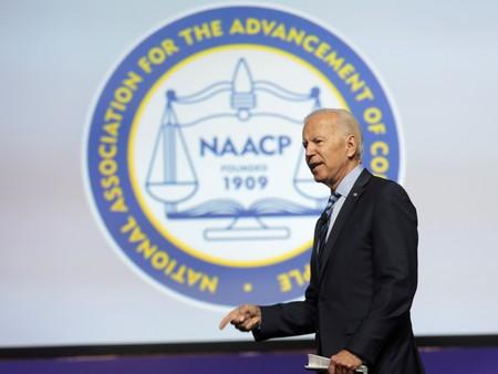 Democratic U.S. Presidential candidate Joe Biden addresses the audience during the Presidential candidate forum at the annual convention of the National Association of the Advancement of Colored People (NAACP) in Detroit,