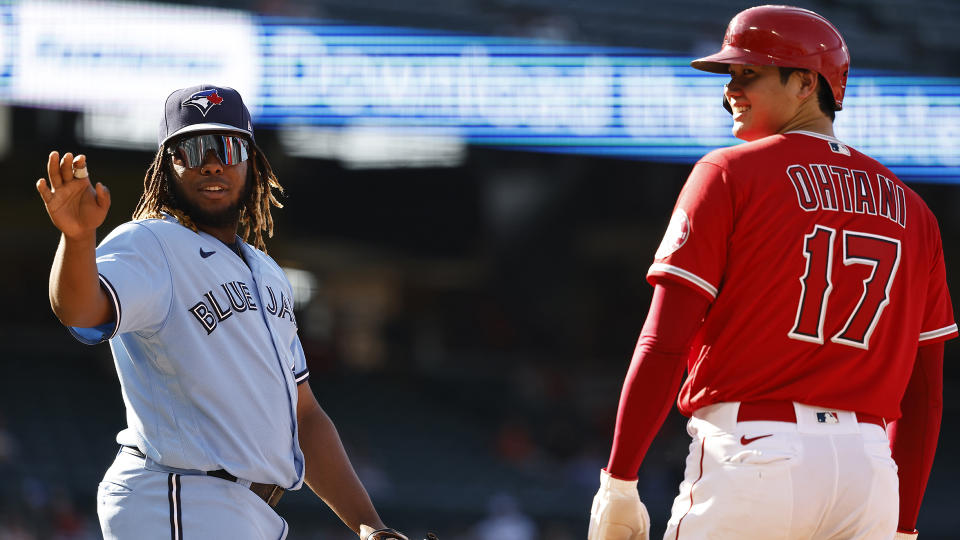 Vladimir Guerrero Jr. and Shohei Ohtani will square off in a battle of MVP candidates. (Photo by Michael Owens/Getty Images)