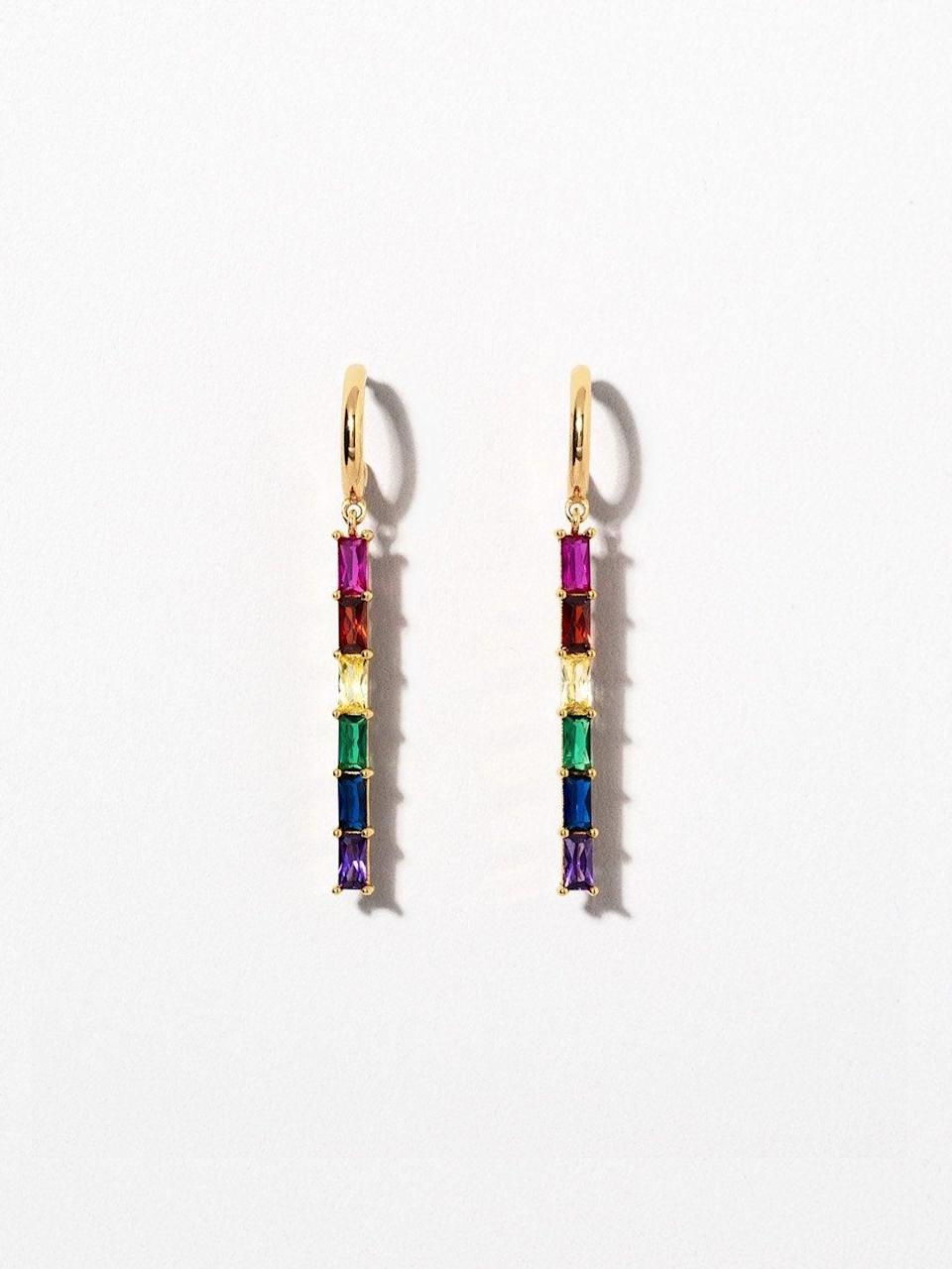 """<h3>Ana Luisa Gold Vermeil Prism Earrings<br></h3> <br>When shopping for demi-fine jewelry, look out for gold vermeil — it offers an actual measurable thickness of gold layered over sterling silver. Ana Luisa uses the material to prismatic effect with its rainbow-hued drop earrings. <br><br><em>Shop <strong><a href=""""http://analuisa.com"""" rel=""""nofollow noopener"""" target=""""_blank"""" data-ylk=""""slk:Ana Luisa"""" class=""""link rapid-noclick-resp"""">Ana Luisa</a></strong></em><br><br><strong>Ana Luisa</strong> Gold Vermeil Prism Earrings, $, available at <a href=""""https://go.skimresources.com/?id=30283X879131&url=https%3A%2F%2Fwww.analuisa.com%2Fcollections%2Fearrings%2Fproducts%2Fpride-earrings-prism"""" rel=""""nofollow noopener"""" target=""""_blank"""" data-ylk=""""slk:Ana Luisa"""" class=""""link rapid-noclick-resp"""">Ana Luisa</a><br><br><br>"""
