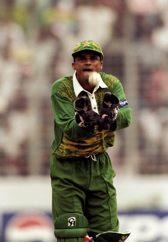 Oct 1998:  Moin Khan of Pakistan in action during the Wills International Cup against the West Indies at the Bangabandhu National Stadium in Dhaka, Bangladesh. \ Mandatory Credit: Stu Forster /Allsport