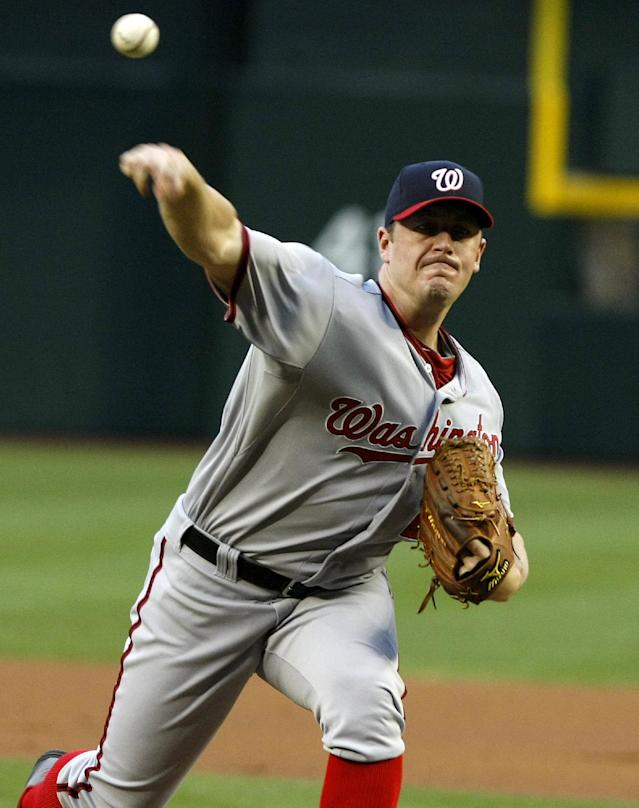 Washington Nationals starting pitcher Jordan Zimmermann (27) throws in the first inning during a baseball game against the Arizona Diamondbacks, Monday, May 12, 2014, in Phoenix. (AP Photo/Rick Scuteri)