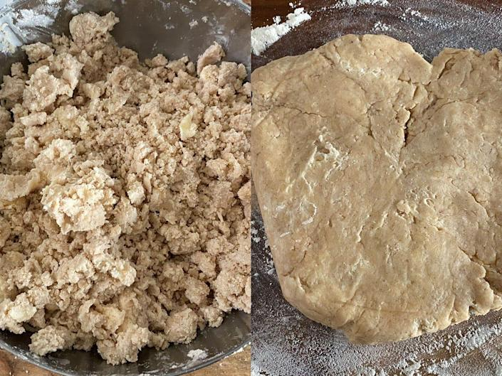 Side by side image of dough ingredients and flattened-out dough.