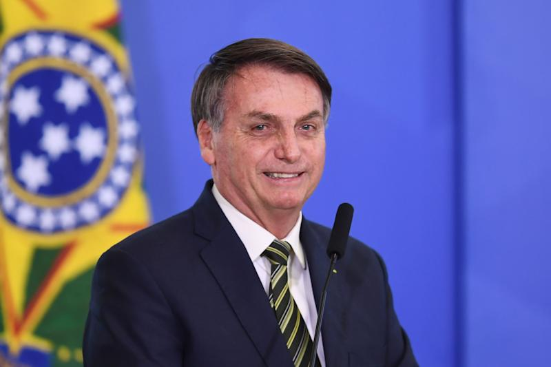 Brazilian President Jair Bolsonaro delivers a speech during the inauguration ceremony of Andre Mendonca as new Justice Minister at Planalto Palace in Brasilia, on April 29, 2020. - Mendonca replaces Sergio Moro, who resigned after disagreements with President Bolsonaro. (Photo by EVARISTO SA / AFP) (Photo by EVARISTO SA/AFP via Getty Images)