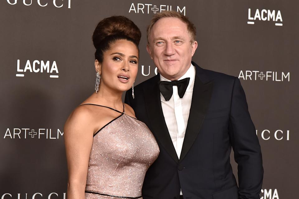 Salma Hayek and Francois-Henri Pinault attend the 2019 LACMA Art + Film Gala  at LACMA on November 02, 2019 in Los Angeles, California. (Photo by David Crotty/Patrick McMullan via Getty Images)